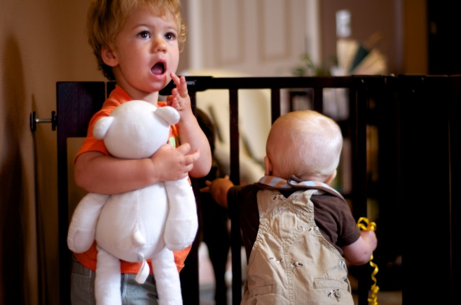 Ambrose and Rowan begin to prod the weaknesses of the baby gate.